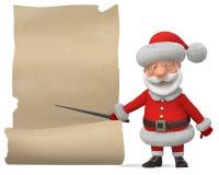 3d illustratie Santa Claus met de affiche Stock Foto's