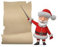 3d illustratie Santa Claus met de affiche Royalty-vrije Stock Afbeeldingen