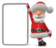 3d illustratie Santa Claus met de affiche Stock Afbeeldingen