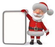 3d illustratie Santa Claus met de affiche Royalty-vrije Stock Foto's