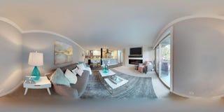 3d illustratie sferische 360 graden, een naadloos panorama van woonkamer royalty-vrije stock afbeeldingen