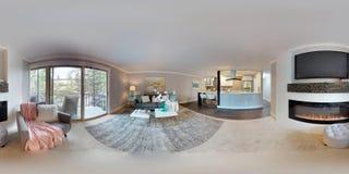 3d illustratie sferische 360 graden, een naadloos panorama van woonkamer stock fotografie