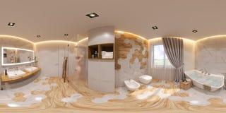 3d illustratie sferische 360 graden, het naadloze binnenlandse ontwerp van de panoramabadkamers vector illustratie