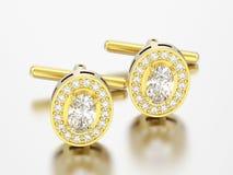 3D illustratie twee gouden diamantcufflinks nagel Royalty-vrije Stock Afbeelding