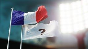 3D Illustratie Twee vlaggen die op wind golven Vraagteken op wit en Frankrijk Nachtstadion Kampioenschap 2018 Voetbal bookmaker stock illustratie