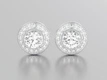 3D illustratie twee witgoud of zilveren diamantenoorringen Royalty-vrije Stock Afbeelding