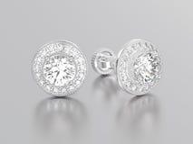 3D illustratie twee witgoud of zilveren diamantenoorringen met Royalty-vrije Stock Foto's