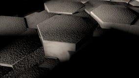 3D illustratie van abstracte futuristische achtergrond van vele verschillende die zeshoeken, honingraat van ijzer wordt gemaakt,  vector illustratie