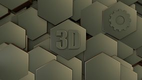 3D illustratie van abstracte futuristische achtergrond van vele verschillende zeshoeken, honingraatsteen met krassen en oude roes royalty-vrije illustratie