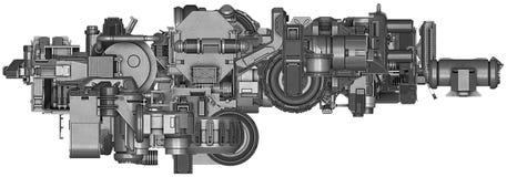 3d illustratie van abstracte industriële materiaaltechnologie Stock Afbeelding