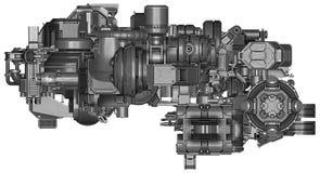 3d illustratie van abstracte industriële materiaaltechnologie Royalty-vrije Stock Foto