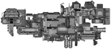3d illustratie van abstracte industriële materiaaltechnologie Stock Foto