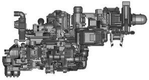 3d illustratie van abstracte industriële materiaaltechnologie Royalty-vrije Stock Foto's
