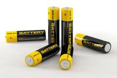 3d illustratie van batterijen Stock Foto's