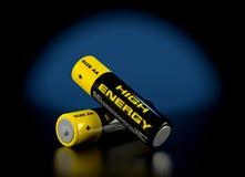 3d illustratie van batterijen Stock Afbeeldingen