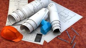 3d illustratie van Blauwdrukken, huismodel en bouwmateriaal Stock Afbeeldingen