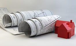 3d illustratie van Blauwdrukken, huismodel en bouwmateriaal Stock Foto's