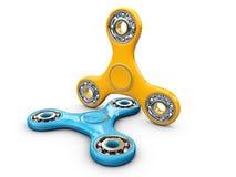 3d Illustratie van Blauwe en Gele Hand friemelt spinnerstuk speelgoed Stock Foto