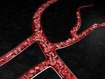 3D illustratie van bloedvat met stromende bloedcellen Stock Afbeeldingen