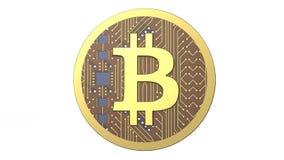 3D illustratie van Cryptocurrency Bitcoin royalty-vrije stock foto