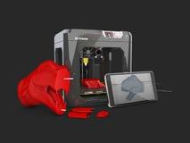3d Illustratie van 3D printer en 3D steekproefmodel 3d teruggevend beeld Royalty-vrije Stock Fotografie