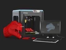 3D illustratie van 3D productontwerp met 3D printer Geïsoleerde zwarte Royalty-vrije Stock Foto's