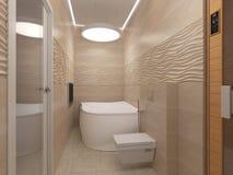 3D illustratie van de badkamers in beige tonen Stock Afbeeldingen