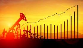3d illustratie van de hefbomen van de oliepomp op de achtergrond van de zonsonderganghemel Conc Stock Foto