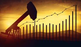 3d illustratie van de hefbomen van de oliepomp op de achtergrond van de zonsonderganghemel Concept het kweken van olieprijzen Royalty-vrije Stock Afbeeldingen