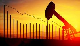 3d illustratie van de hefbomen van de oliepomp op de achtergrond van de zonsonderganghemel met financiële analytics Concept dalen Royalty-vrije Stock Foto's
