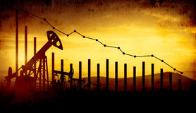 3d illustratie van de hefbomen van de oliepomp op de achtergrond van de zonsonderganghemel met financiële analytics Concept dalen Royalty-vrije Stock Afbeeldingen