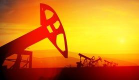 3d illustratie van de hefbomen van de oliepomp op zonsondergangachtergrond Royalty-vrije Stock Afbeeldingen