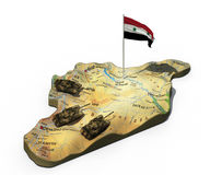 3d illustratie van de kaart van Syrië met tanks en vlag op wit wordt geïsoleerd dat Stock Foto's