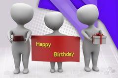 3d illustratie van de mensen gelukkige verjaardag Stock Foto's
