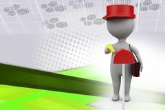 3d illustratie van de mensenbrievenbesteller Stock Foto