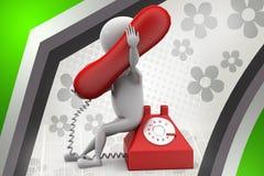 3d illustratie van de mensentelefoon Stock Foto's