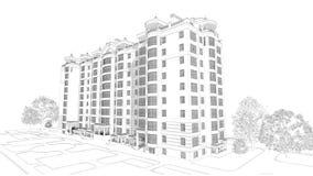 3d illustratie van de potloodschets van een modern van de de bouwbuitenkant en werf landschapsontwerp met meerdere verdiepingen Stock Fotografie