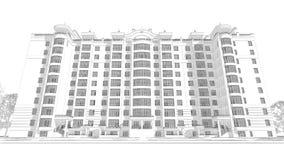 3d illustratie van de potloodschets van een modern van de de bouwbuitenkant en werf landschapsontwerp met meerdere verdiepingen Stock Foto's