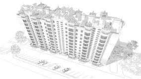 3d illustratie van de potloodschets van een modern van de de bouwbuitenkant en werf landschapsontwerp met meerdere verdiepingen Stock Afbeeldingen