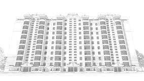 3d illustratie van de potloodschets van een modern van de de bouwbuitenkant en werf landschapsontwerp met meerdere verdiepingen Royalty-vrije Stock Foto's