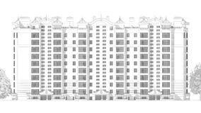 3d illustratie van de potloodschets van een modern van de de bouwbuitenkant en werf landschapsontwerp met meerdere verdiepingen Royalty-vrije Stock Afbeelding