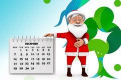 3d illustratie van de santakalender Stock Afbeelding