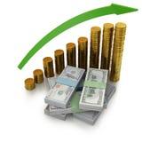 3d illustratie van dollarbankbiljetten en de muntstukken van het dollarsymbool Stock Foto