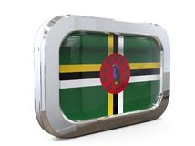 3D illustratie van Dominica Button Flag Stock Foto's