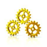 3d illustratie van drie gouden toestelwielen Stock Foto's