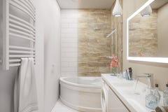 3d illustratie van een binnenlands ontwerp van een witte minimalistische badkamers royalty-vrije illustratie