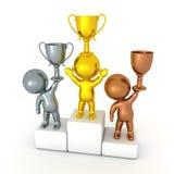 3D illustratie van een de concurrentiepodium met goud, zilver en br Stock Foto's
