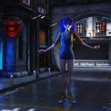 3D Illustratie van een futuristische stedelijke Scène met Manga Girl vector illustratie