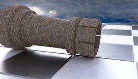 3D Illustratie van een gevallen toren op een half glanzend schaakbord met de erachter horizon stock illustratie