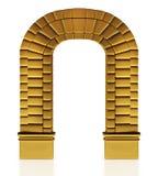 3d illustratie van een gouden oude boog Stock Afbeeldingen